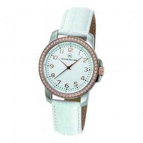 "Edelstahl-Armbanduhr ""Edna Crystal rotgold weiß"""
